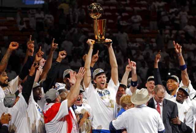 Dirk Nowitzki Hoists His Championship Trophy. Meanwhile In Germany...